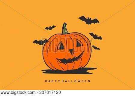 Happy Halloween Background With Smiling Pumpkin On Orange Background, Halloween Sale 3d Illustration