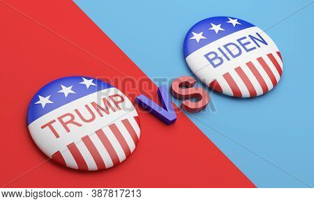 Bengkulu, Indonesia - October 02, 2020: Vote Election Campaign Badge Button Trump Vs Biden Isolated