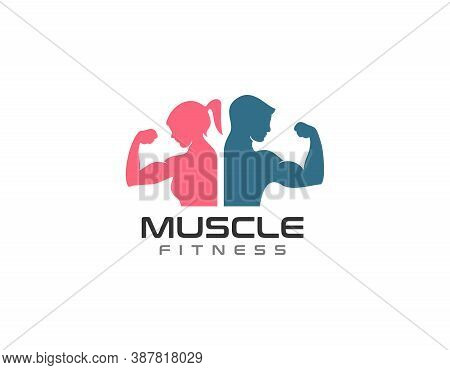 Women And Men Fitness Muscle Building Logo. Graphic Design Element.