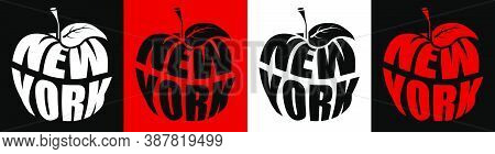 New York Is Big Apple, Metropolis Of America. Name Ny In Shape Of Apple. Sticker For Web Design. Vec