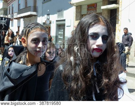Cuenca, Ecuador - May 18, 2019: Unidentified Dreadful Zombie Girls At Zombie Parade In Cuenca City C
