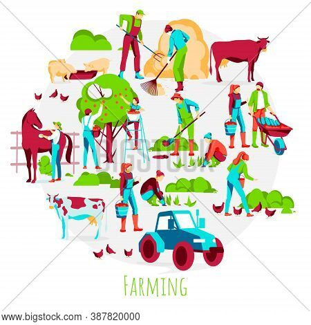 Farming Banner Template. Farmers Working And Harvesting In Garden, Taking Care Of Animals. Organic G