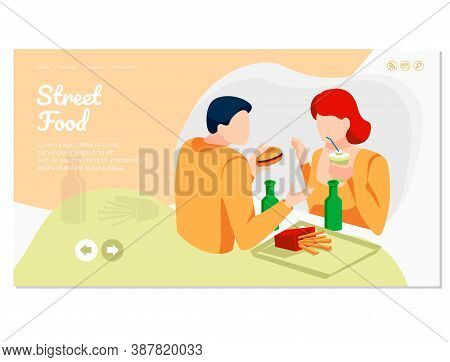 Street Food Landing Page. Young Couple Eating Fastfood Dishes And Drinking Soda Drinks. Online Food