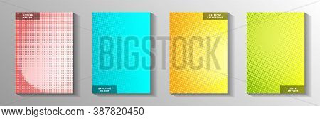Decorative Point Faded Screen Tone Cover Page Templates Vector Set. Medical Banner Perforated Screen