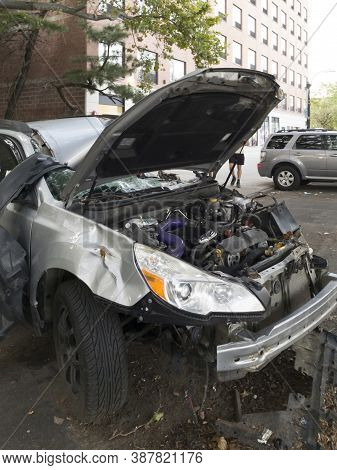 Bronx, New York/usa - September 11, 2020: Automobile Wreck Left On Corner After An Accident Near Mar