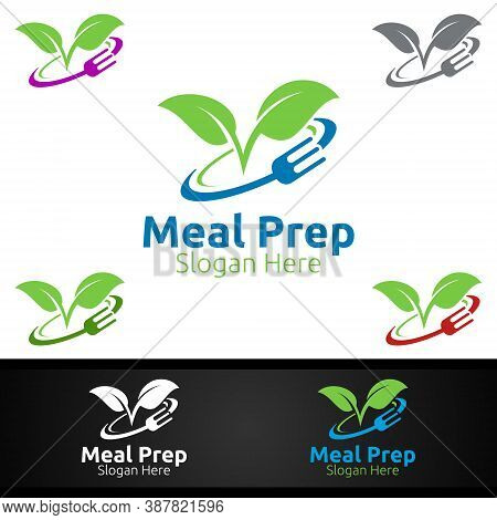 Meal Prep Healthy Food Logo For Restaurant, Cafe Or Online Catering Delivery