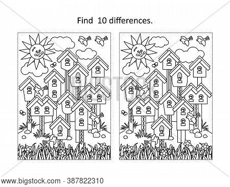 Find 10 Differences Visual Puzzle And Coloring Page With Birds Village Of Various Birdhouses, Nestli