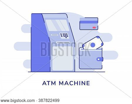 Atm Machine Concept Money Withdrawal Automatic Card Bank White Isolated Background With Flat Outline
