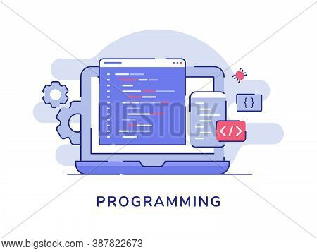 Programing Concept Language Program Code Coding Binary On Display Laptop Screen White Isolated Backg