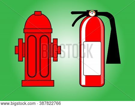 Fire Hydrant And Fire Extinguisher Vector Illustration .red Fire Hydrant And Fire Extinguisher Isola