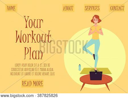 Workout Plan Website Banner With Cartoon Woman Doing Yoga With Laptop