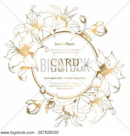 Vector Floral Round Elegant Card With Hand Drawn Gold Lilies And Leaves Isolated On White Background