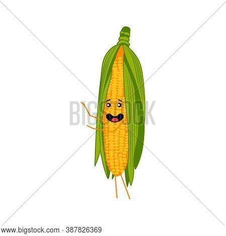 Cute Corn Cob Cartoon Character. Kawaii Corncob Vegetable With Funny Smiling Face, Arms And Legs. Na