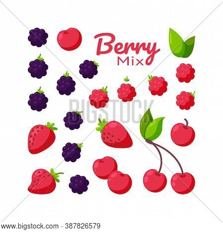 Berries Isolated In White Background. Fresh Cherry, Raspberry, Blackberry And Strawberry. Square Des