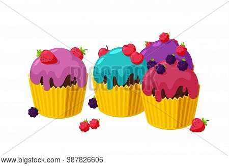Cupcakes With Cherry, Raspberry, Blackberry And Strawberry. Set Of Birthday Muffins In Paper Cup. Ta