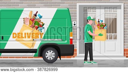 Delivery Van Full Of Food And Courier. Concept Of Fast Grocery Delivery Service. Supermarket, Cafe,