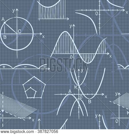 Seamless Doodle Pattern With School Algebra Elements. Pattern With Mathematical Charts And Graphs On