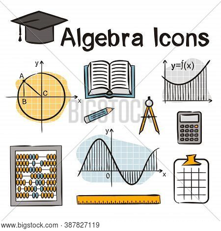 Seamless Doodle Pattern With School Algebra Elements. Pattern With Mathematical Objects: Ruler, Book