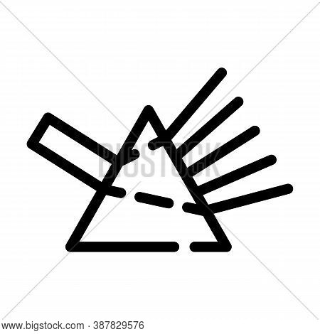 Refraction Of Light Rays Prism Line Icon Vector Illustration