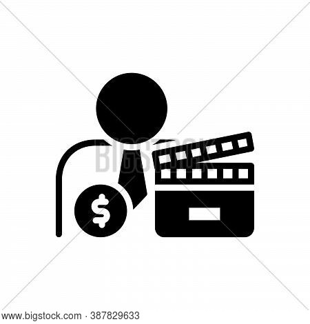 Black Solid Icon For Producer Maker Cinematography Entertainment Industry Cinema Movie Filmstrip Dir