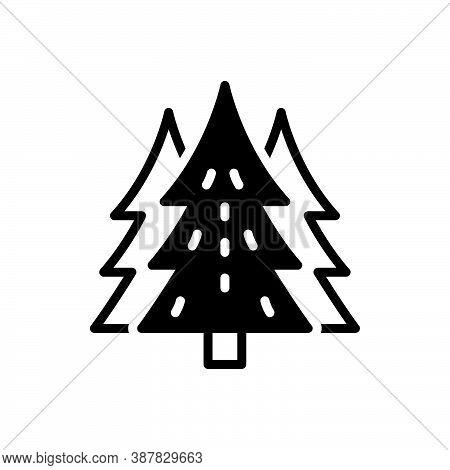 Black Solid Icon For Pine Cedar Fir-tree Peak Forest Garden Spruce Environment Evergreen