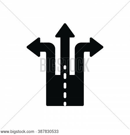Black Solid Icon For Split Divided Echeloned Separate Direction Way Arrow Choose Crossroad Opportuni