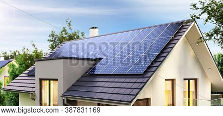 Solar Panel(solar Cell) With The Cloud On Sky, Solar Energy Panel Photovoltaic Cell, Hot Climate Cau