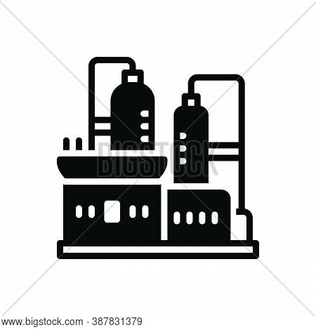 Black Solid Icon For Production Factory Refinery Manufacturing Pollution Smoke Recycle Manufacture