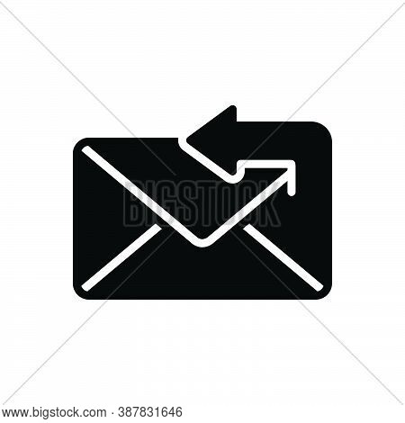 Black Solid Icon For Reply Answer Response Retort Reply Arrow App Mail Message Envelope
