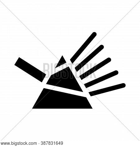 Refraction Of Light Rays Prism Glyph Icon Vector Illustration