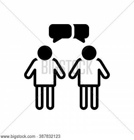Black Solid Icon For Interaction Interplay Contact Reciprocation Communication Conversations Discuss