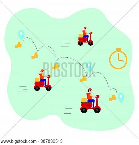 Fast Delivery By Motorcycle Or Scooter. Couriers Quickly Deliver The Goods To The Buyer. Food Servic
