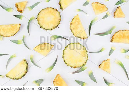 Seamless Pattern Single Whole Pineapple And Pineapple Leaves Isolated On White Background. Summer Fr