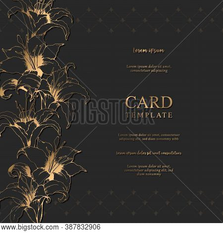 Vector Floral Elegant Card With Hand Drawn Gold Lilies And Leaves Isolated On Black Background. Bota