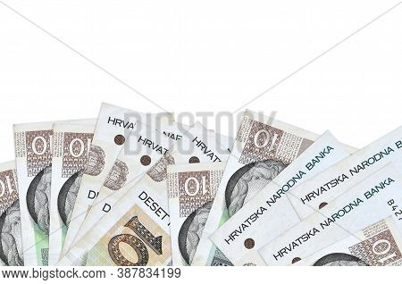 10 Croatian Kuna Bills Lies On Bottom Side Of Screen Isolated On White Background With Copy Space. B