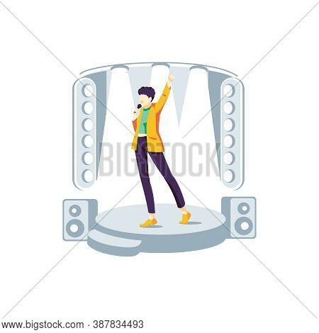 Popular Singer Performing On Stage. Guy Singing Song At Karaoke Bar, Night Club Or Live Concert With