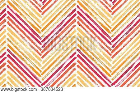 Dry Chevron Interior Print Vector Seamless Pattern. Paint Brush Stroke Geometric Stripes. Hand Drawn