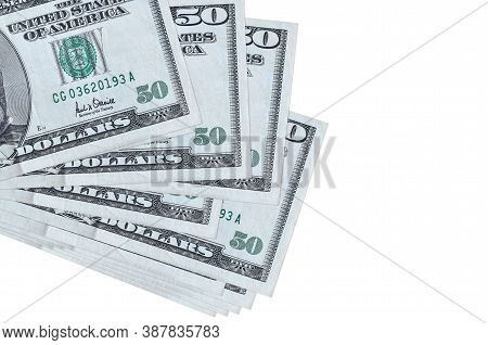 50 Us Dollars Bills Lies In Small Bunch Or Pack Isolated On White. Mockup With Copy Space. Business