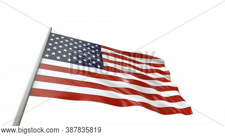 The Us Flag Was Waving For The Election. American Flag Isolated On White Background With Clipping Pa