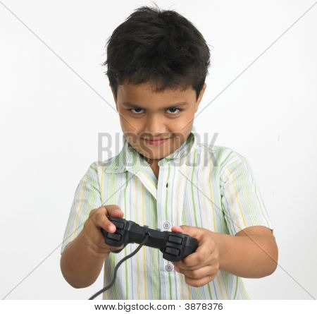 Asian Boy Playing With His Play Station