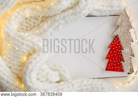 Christmas And New Year Mockup.winter To-do List.empty Notebook With Wooden Red Christmas Tree, Garla