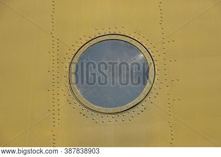 Closeup Of A Military Spec Helicopter Fuselage And Viewing Window