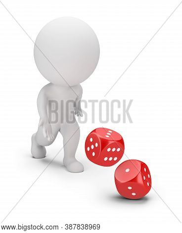 3d Small Person Throwing Dice. 3d Image. White Background.