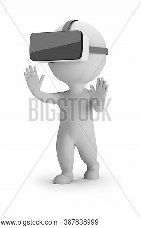 3d Small People - Virtual Reality Helmet. 3d Image. White Background.