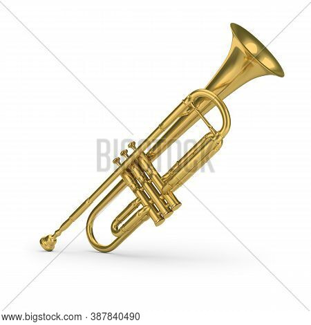Brass Trumpet. 3d Generated Image. White Background.