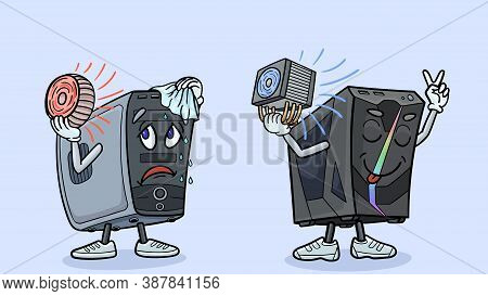 Two Cartoon Computers Demonstrate Their Cpu Cooling.