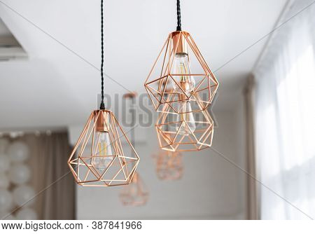 Three Chandeliers In The Art Nouveau Style Of Copper Wire