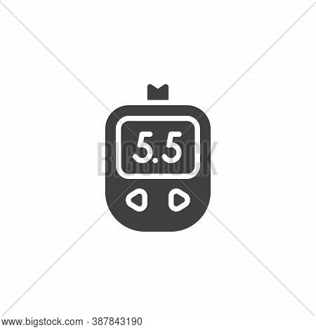Diabetes Test Control Vector Icon. Filled Flat Sign For Mobile Concept And Web Design. Blood Glucose
