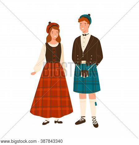 Couple In Scotland National Costumes Vector Flat Illustration. Man In Headdress And Traditional Kilt
