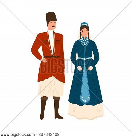 Caucasian Couple In Traditional Apparel Vector Flat Illustration. Georgian Man And Woman In National